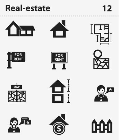 Houses icons set  Real estate Stock Vector - 20087793