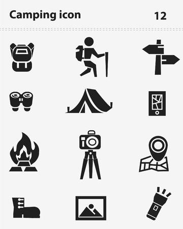 camping: Camping icon set