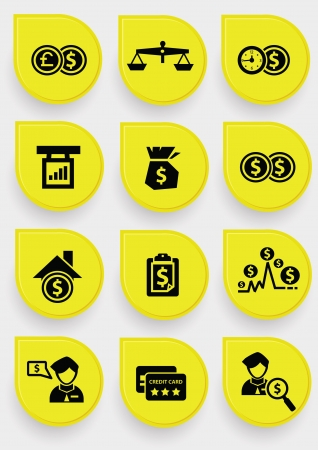 falling money: Finance icons on yellow button,vector Illustration