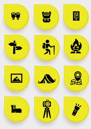 Camping icons on yellow button Vector