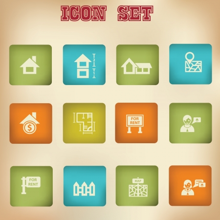real people: House and blueprint vintage icons Illustration