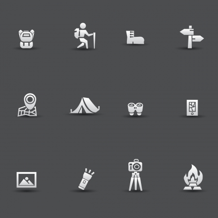 people hiking: Camping icons
