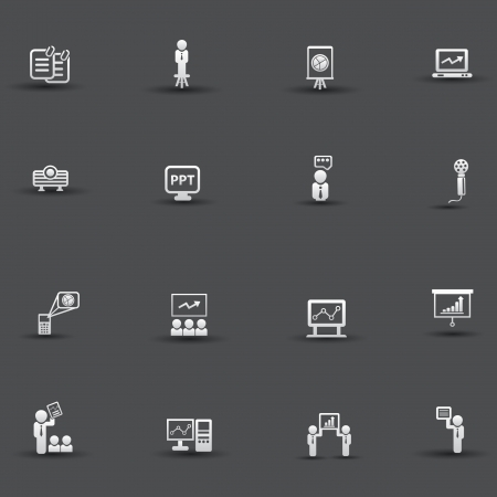 Presentation and business concept icons Vector