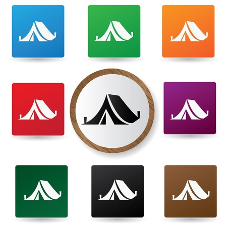 Camping symbol on button Vector