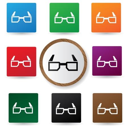 stereoscope: 3D glasses symbol on buttons,vector Illustration