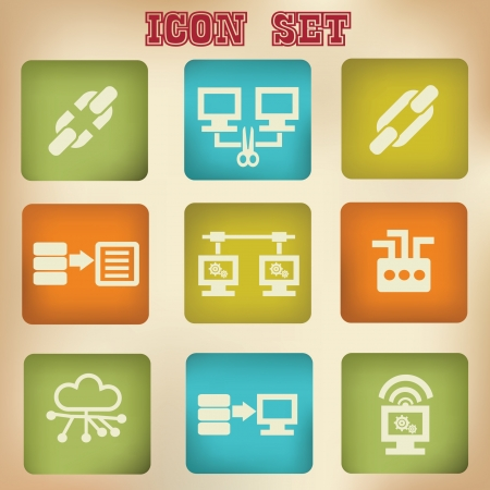 Connection network vintage icons Stock Vector - 20168807