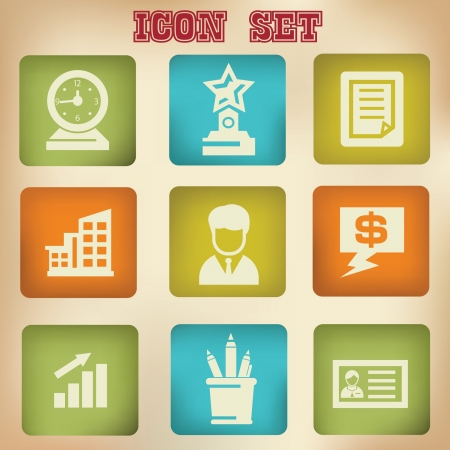 Office vintage icons Stock Vector - 20168802
