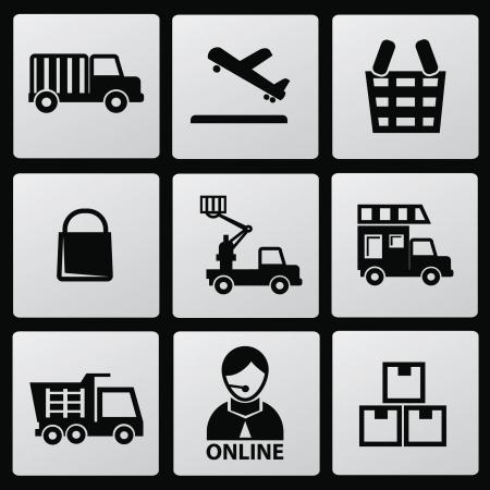 boxcar: Logistic icons Illustration