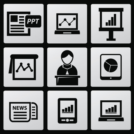 Presentation business icons Vector