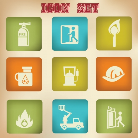 Fire vintage icons Vector