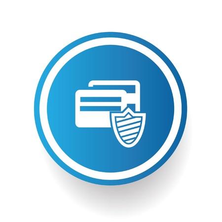 cvv: Credit card security symbol on blue button Illustration