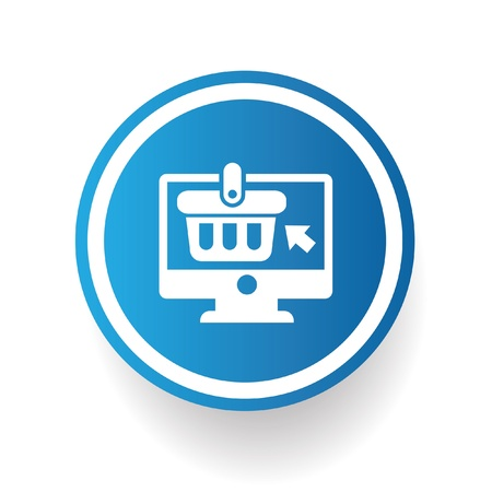 comerce: On-line shopping symbol on blue button Illustration