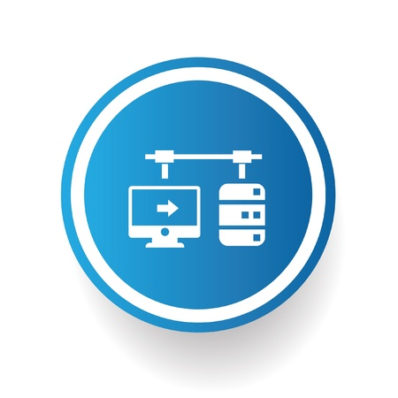 sql: Connection data symbol on blue button Illustration
