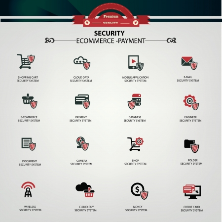 datensicherheit: E-Commerce, Online-Shopping, Online-Sicherheit bei der Bezahlung System-Icons Illustration