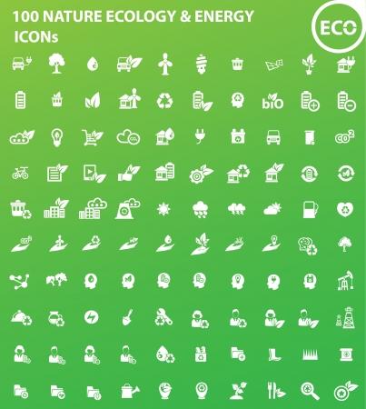 100 Ökologie, Natur Energie icons