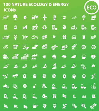 100 Ecology, Nature   Energy icons Vector