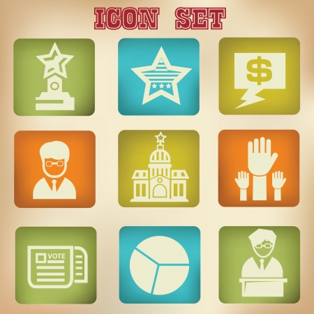 political rally: Vote icons vintage style