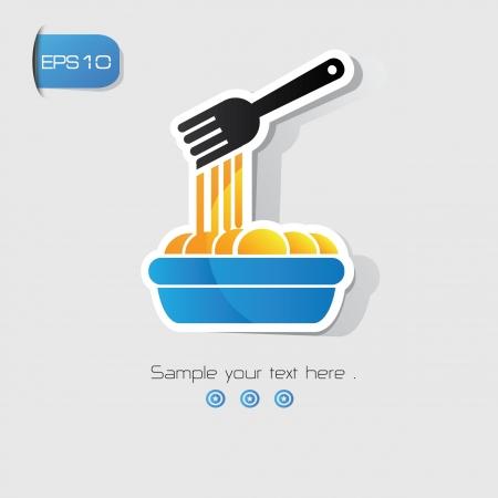 pietanza: Simbolo Noodle Vettoriali