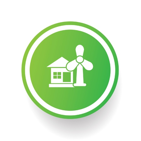 Wind turbine and house ecology symbol Vector