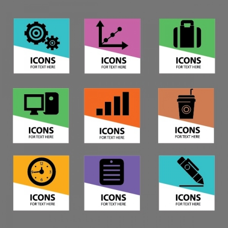 Office Work Workplace Business Financial Web Icon set Vector