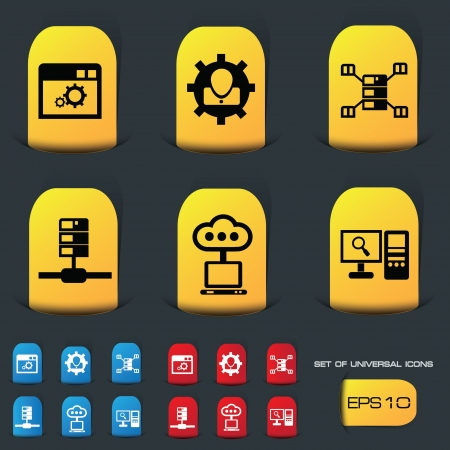 Server icon set Stock Vector - 20391694