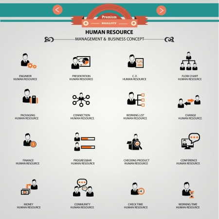 Human resource, Management   Business concept icons