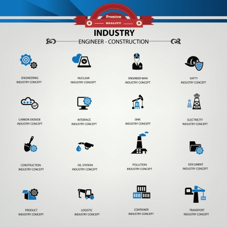 Industry, Engineering, Construction icons Vector