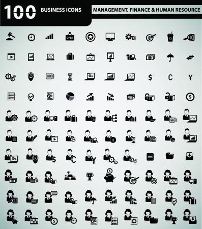 job functions: 100 universal business icons,Management, Finance   Human resource for working