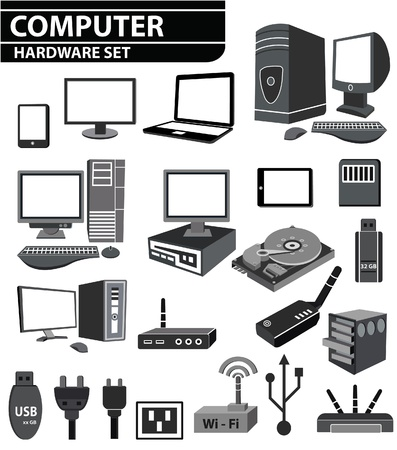 Computer hardware Network and mobile devices set Vector