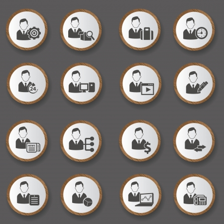 Business man icons on wood button,vector Vector