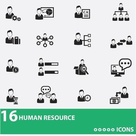 soutien: Homme d'affaires, les ic�nes des ressources humaines Illustration