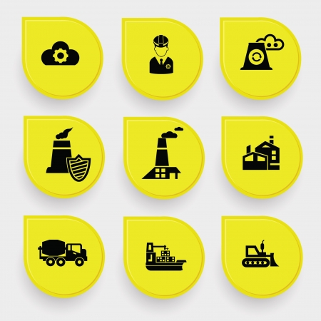Industry on yellow buttons Vector
