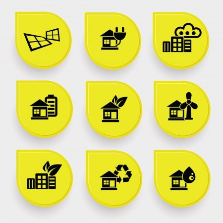 Ecology   Energy on yellow buttons Stock Vector - 20427908