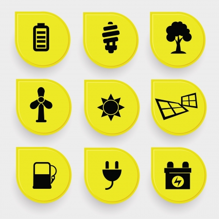 Ecology Energy icons Vector