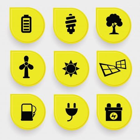 baterii: Ekologia energia icons Ilustracja