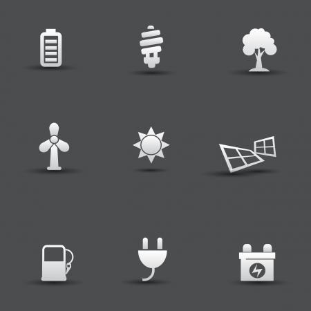 car battery: Ecology Energy icons Illustration