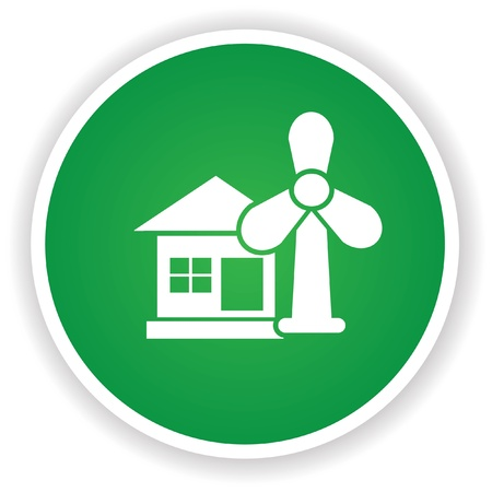 Wind turbine symbol on green button Vector