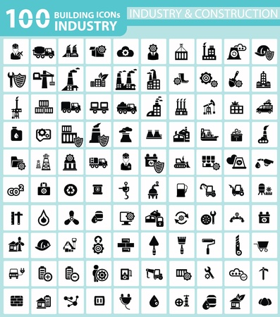 Industry, Building, Construction   Engineering icons Illusztráció