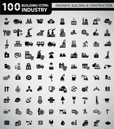 Industry, Building, Construction   Engineering icons Vector