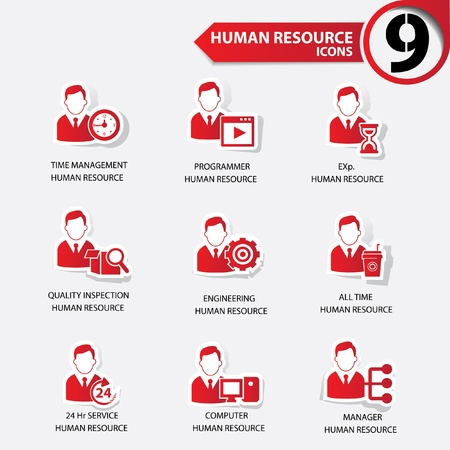 Business man,Human resource red version icons Stock Vector - 20630815