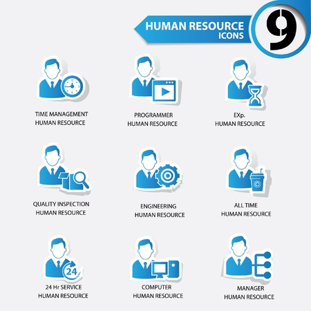 Business man,Human resource blue version icons Stock Vector - 20630814