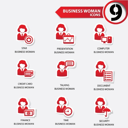 Woman business red version icons Vector