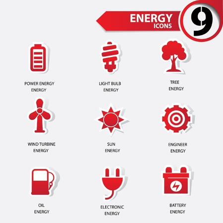 Ecology and Energy red version icons Vector