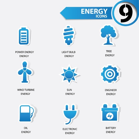 power grid: Ecology and Energy blue version icons Illustration