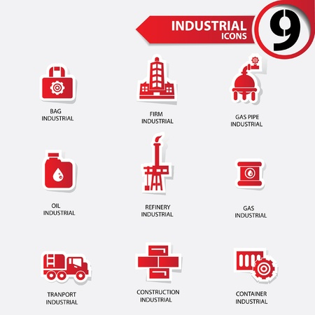 Industrial and building red version icons Vector