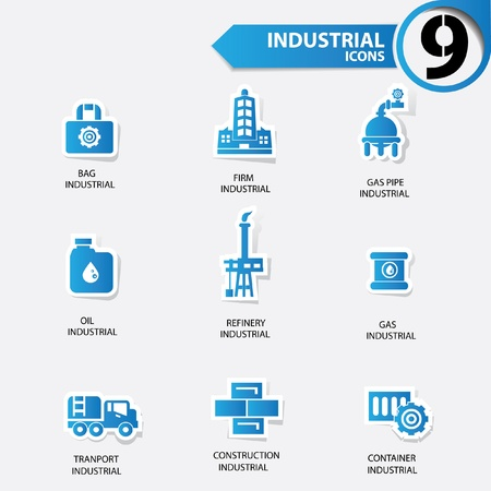 Industrial and building blue version icons Vector
