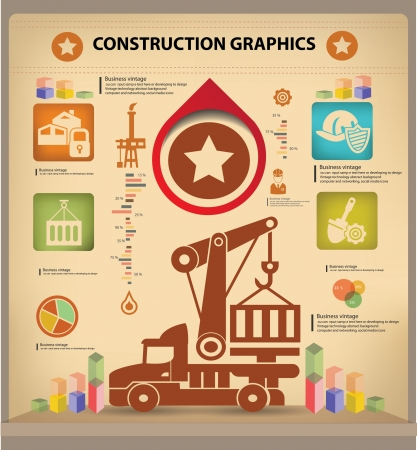 ingenieria industrial: Log�stica dise�o infograf�a, estilo vintage, vector Vectores