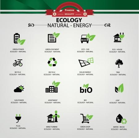iconos energ�a: Ecolog�a, iconos de la energ�a natural, vector Vectores