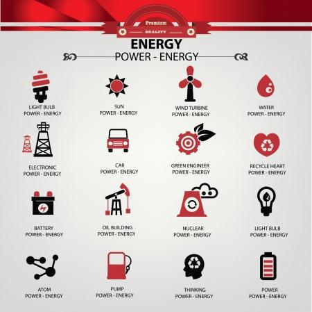 Energia e potenza icone, vector
