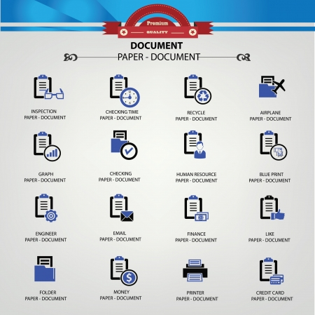 Document,Office accessory icons,vector Vector